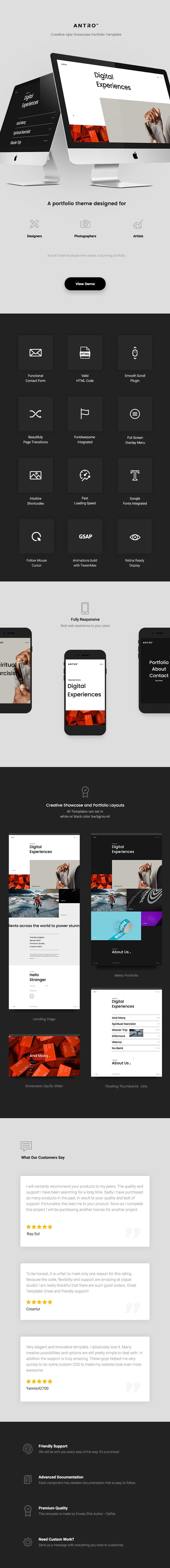 HTML showcase portfolio Antro