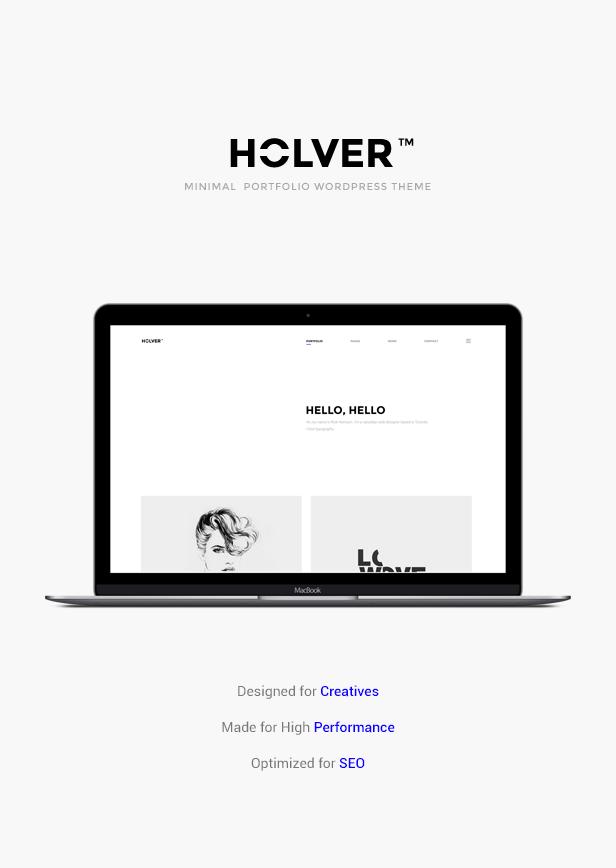minimal portfolio holver wordpress theme